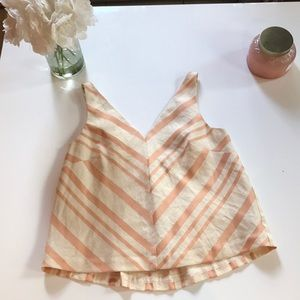 Pink and white striped tank top